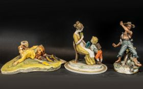 Three Porcelain Figures depicting a golfer, a mother and child and a fisherman. A/F, confirm with