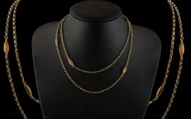 Antique Period - Nice Quality and Elegant 9ct Gold Fancy Long Chain. Full Hallmark for 9.375.