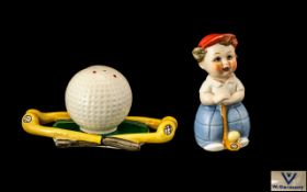 Goebel 1960's Hand Painted Novelty Cruet Set In the Form of a Golfer Boy and Large Golf Ball and