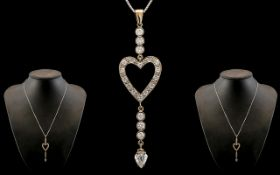 Antique Period 18ct White Gold - Exquisite Heart Shaped Diamond Set Pendant / Drop Necklace of