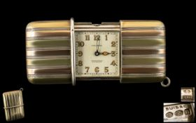 Movado Ermeto Chronometer Travel Watch c1928 Art Deco Watch With Silver Tricoloured Engine Turned