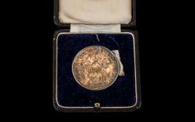 Southport Flower Show Silver Medal 1952, fully hallmarked for silver, in original velvet lined box