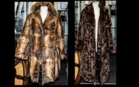 Full Length Dark Brown Mink Coat fully lined in brown sateen fabric, with two slit pockets, collar