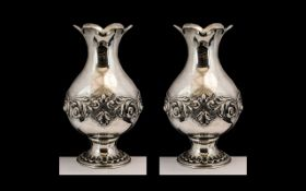 Portuguese Superb Quality Pair of Impressive Silver Bulbous Shaped Vases with Excellent High