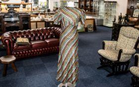 Genuine Vintage Ladies Dress circa 1930s/40s, handmade in textured zig zag pattern fabric in