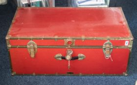 Large Trunk in red leatherette and brass trim, measures 36'' length, 14'' deep x 20'' wide. Ideal