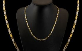 9ct Two Tone Gold Superior Quality Necklace of Excellent Design / Proportions. Fully Hallmarked