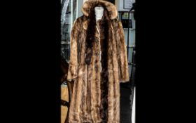 Full Length Golden Coney fur Coat with decorative buttons and sateen lining (needs repair), approx