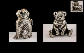 A Pair of Novelty Sterling Silver Vesta Cases In the Form of a Teddy Bear and Large Dog. Both Marked