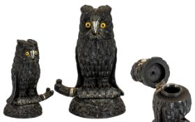 Victorian Irish Inkwell in Form of Owl. Mid to early 19th century Owl inkwell, made from bog wood
