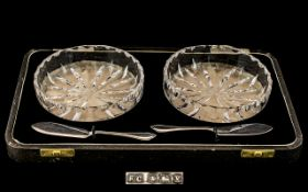 A Boxed Pair of Cut Glass Circular Sweetmeat Dishes with a Pair of Sterling Silver Small Knives -