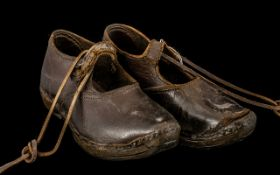 Pair of Childrens Leather Clogs, stamped to the sole 'Redfern', c1900