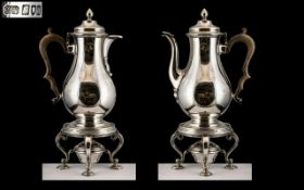 Antique Period Superb Sterling Silver Pair of Matching Teapot and Coffee Pot, Each with Heavy Ornate