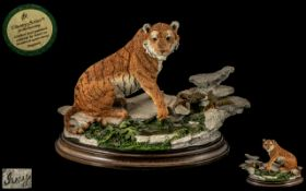 Country Artist Handmade Sculpture / Figure ' Natures Trail Tiger ' Model No CA748. Raised on a