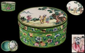 Chinese Antique Canton Enamel Oval Shaped Lidded Box of Large Size, Decorated to the Lid with a Sage