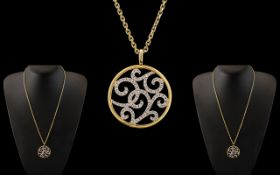 Ladies Attractive 18ct Two Tone Gold Diamond Set Circular Pendant of Exquisite Form / Design.