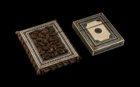 Two Antique Anglo-Indian Card Cases, highly decorative, one with inlaid mosaic and wonderful carving
