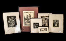 Six Limited Edition Etchings of Various Subjects, pencil signed to the margins George F Reiss. Dated