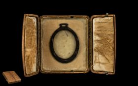 Arts and Crafts Design Victorian Picture Frame in travelling case; hammered metal frame in