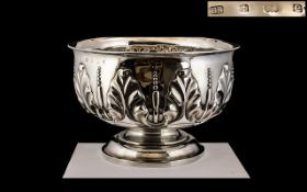 Art Nouveau - Impressive and Superb Quality Sterling Silver Large Footed Bowl, Decorated In