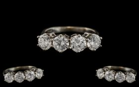 Ladies - Superb Quality 14ct White Gold 4 Stone Diamond Set Ring. Marked 14ct to Interior of