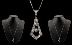 Art Nouveau Platinum and 18ct Gold Diamond Set Pendant of Superb Quality. c.1900 - 1905. Diamonds of
