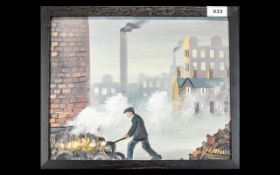 Northern Industrial School Oil on Board depicting a foundry worker stoking coal, signed J Downie; 12
