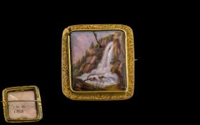 Georgian Gold and Hand Painted Brooch, early 19thC brooch with hand painted centre of a cascading