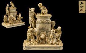 Japanese - Fine Quality Tokyo School Meiji Period 1864 - 1912 - Okimono Carved Ivory Figure Group,