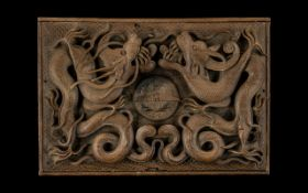 Wooden R.A.F Box Decorated Throughout with Chinese Dragons, Very Well Carved Box, Decorated In