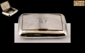 Edwardian Period Silver Hinged Snuff Box of Large Proportions and Plain Form. Hallmark Chester 1905.