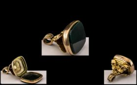 Large Antique Novelty Gold Fob. Unusual gold fob with opening hinged bottom, to reveal secret