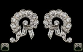 Art Deco Period Stunning Pair of 18ct White Gold Diamond Set Earrings of Wonderful Design and