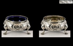 Victorian Period Fine Quality Pair of Sterling Silver Salts, Each Raised on Splayed Hoof Feet and of