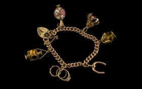 Antique Period - Superior Quality 9ct Gold Bracelet Loaded with Six Quality 9ct Gold Charms. The