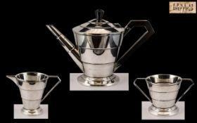 Art Deco Period Silver Plated 3 Piece Tea Service In Conical Form. Wonderful Design and Lines.