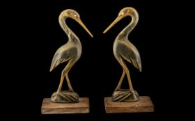 Art Deco Carved Horn Storks, 2 Deco Horn Carvings of Storks on Teak Bases. Each 7 Inches High.