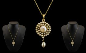 Edwardian Period 15ct Gold Superb and Exquisite Pearl Set Circular Pendant with Large Pearl Set to