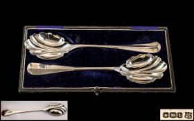 Sterling Silver - Stylish Pair of Fruit / Desert Servers of Excellent Proportions by John and