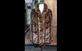 Vintage Dark Brown Jacquard Design Fur Jacket, hook and eye fastening, two slit pockets, fully lined