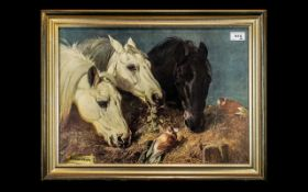 Print of Painting 'Three Horses Eating from a Manger' with two birds sitting on the hay, after J F