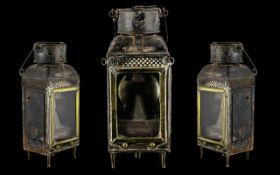 Large Antique Carry Oil Lamp. Antique Oil Lamp Sitting on 4 Feet, Has Carry Handle, Original Glass