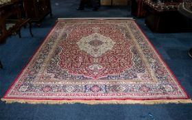 A Genuine Cashmere Large Red Ground Marrakech Carpet/Rug. As new condition. Measures 2.40 by 3.30