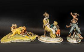 Three Porcelain Figures depicting a golf