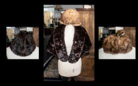 Dark Brown Vintage Mink Cape fully lined