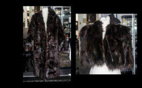 Dark Brown Fur Coat with collar and reve