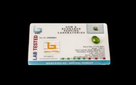 3.9 Ct Olive Green natural Peridot. GJSP