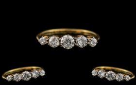 18ct Gold - Attractive 1920's 5 Stone Di