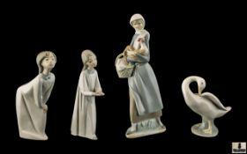 Lladro Porcelain Figures ( 4 ) In Total.