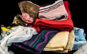 Box of Ladies Scarves, some silk, in var